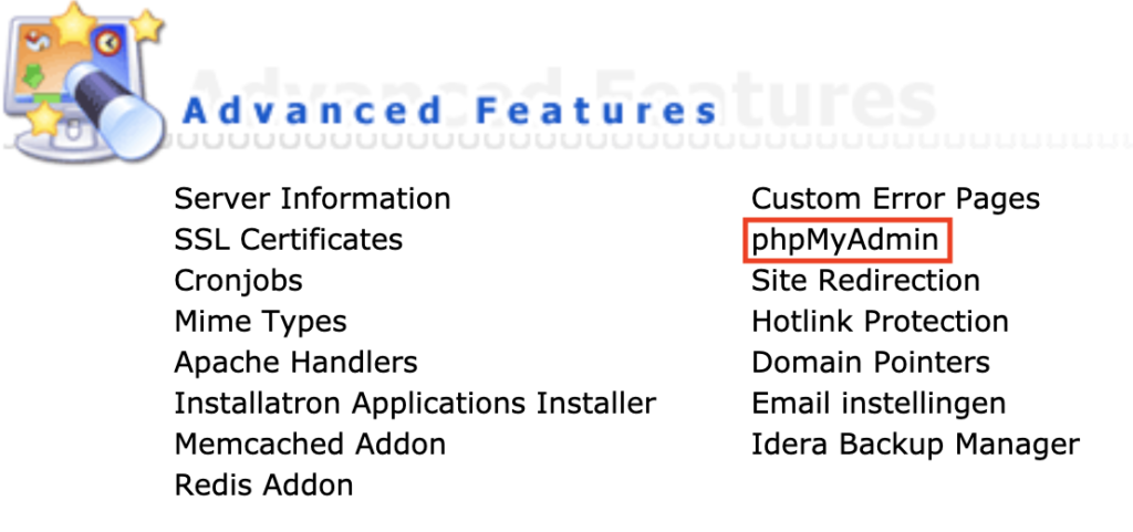 phpMyAdmin in the DirectAdmin control panel